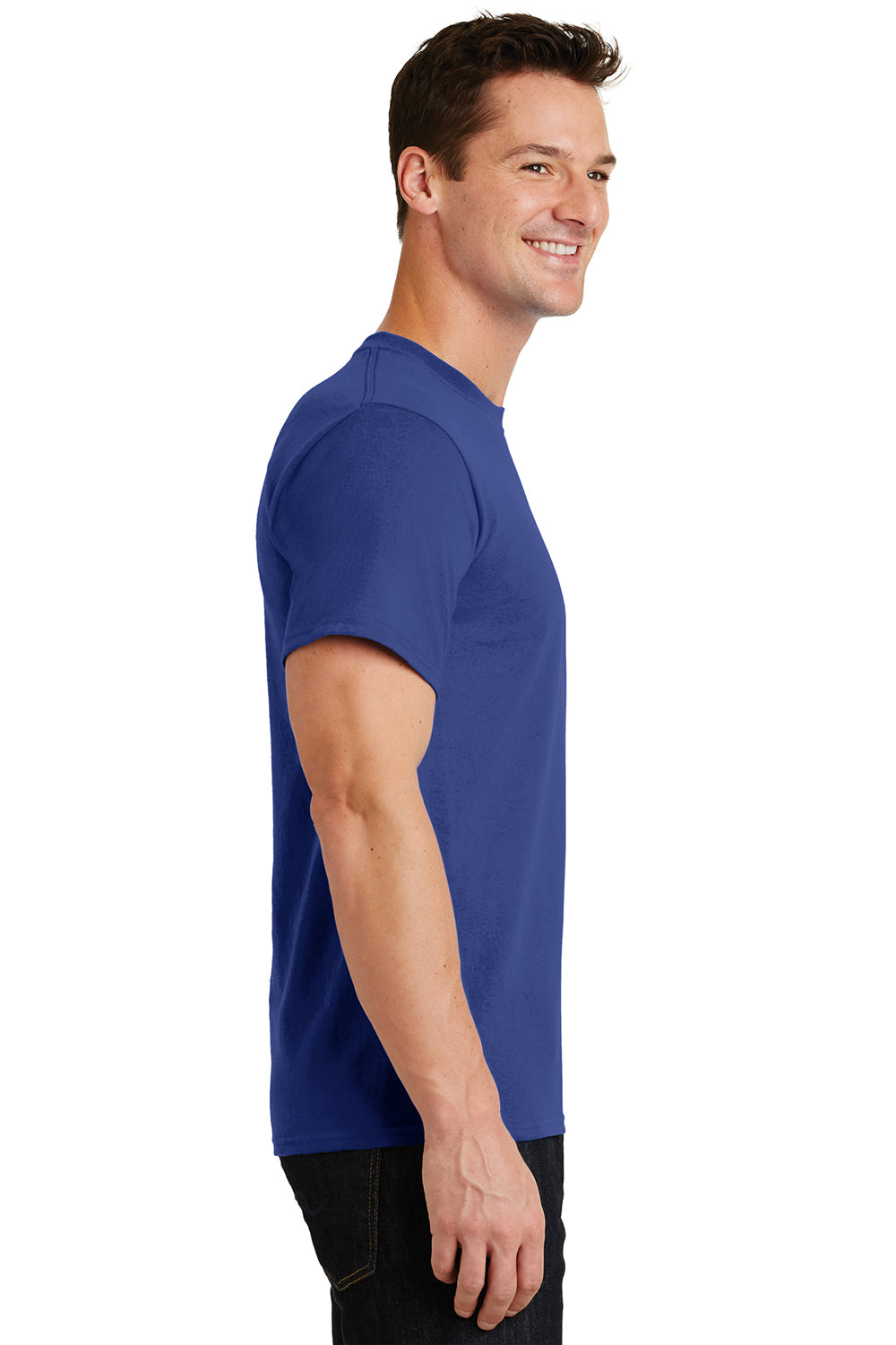 Port & Company PC61 Mens Essential Short Sleeve Crewneck T-Shirt Deep Marine Blue Side