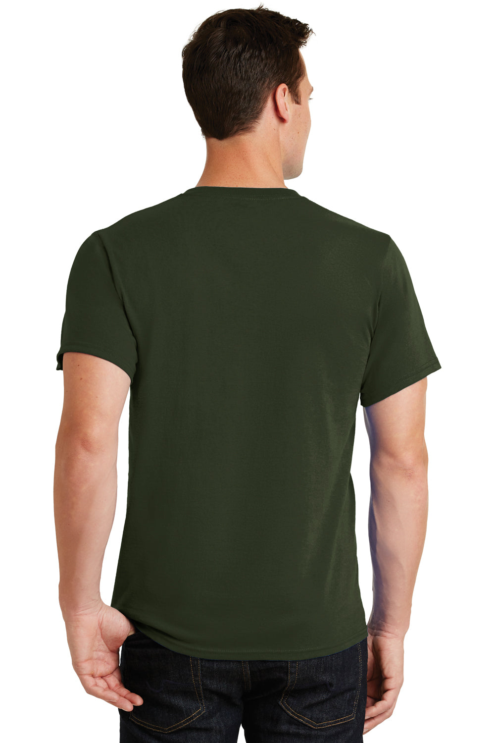 Port & Company PC61 Mens Essential Short Sleeve Crewneck T-Shirt Olive Green Back