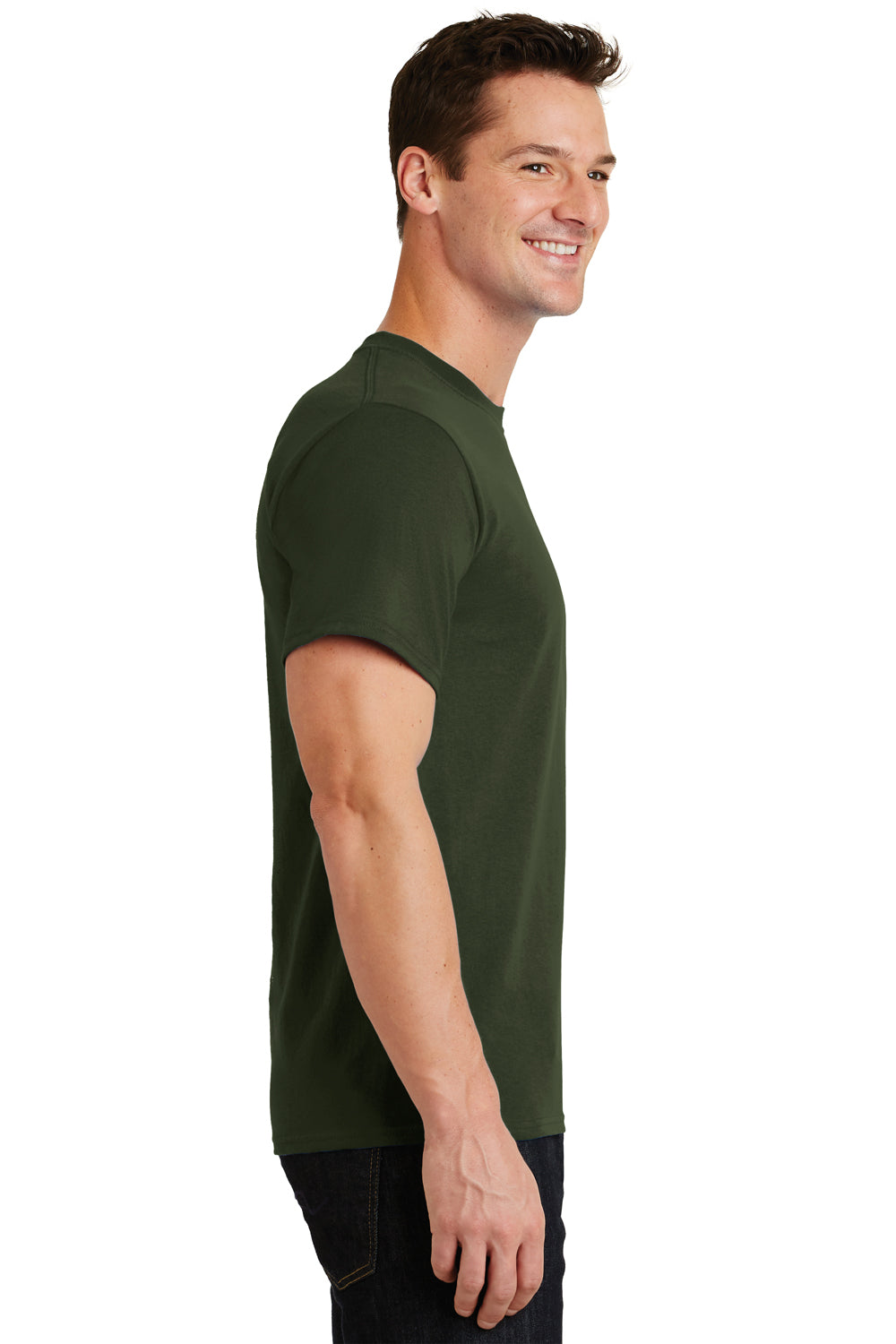 Port & Company PC61 Mens Essential Short Sleeve Crewneck T-Shirt Olive Green Side