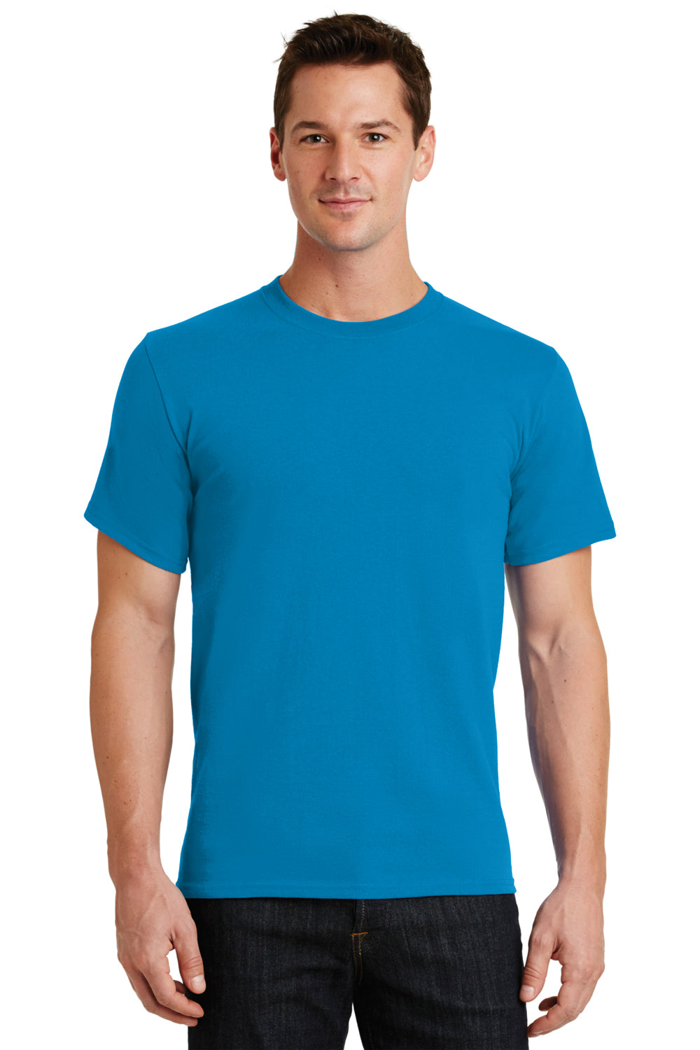 Port & Company PC61 Mens Essential Short Sleeve Crewneck T-Shirt Sapphire Blue Front