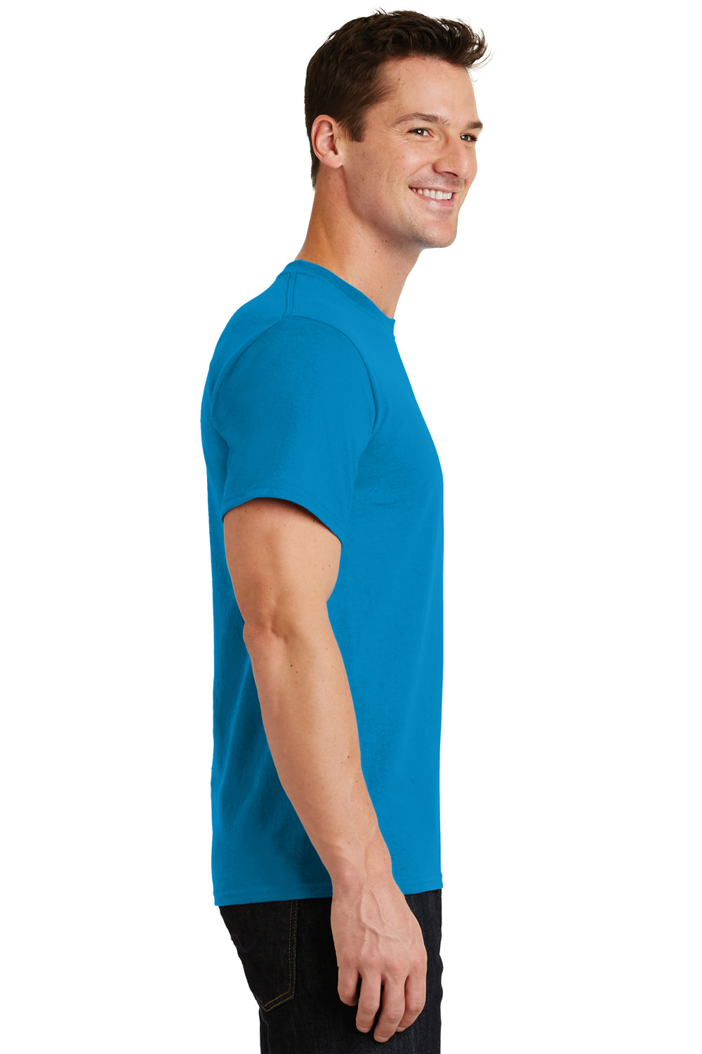 Port & Company PC61 Mens Essential Short Sleeve Crewneck T-Shirt Sapphire Blue Side