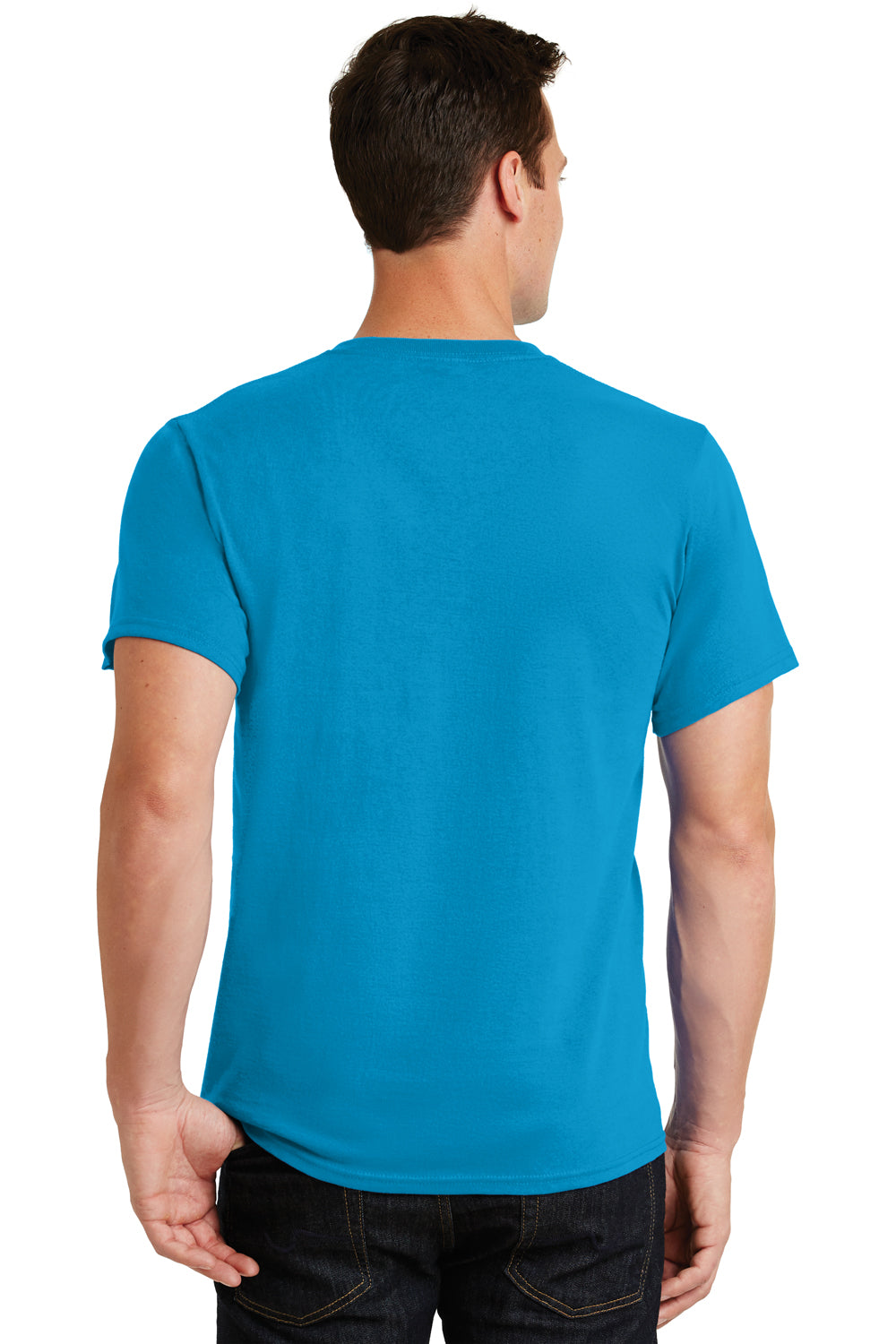 Port & Company PC61 Mens Essential Short Sleeve Crewneck T-Shirt Turquoise Blue Back
