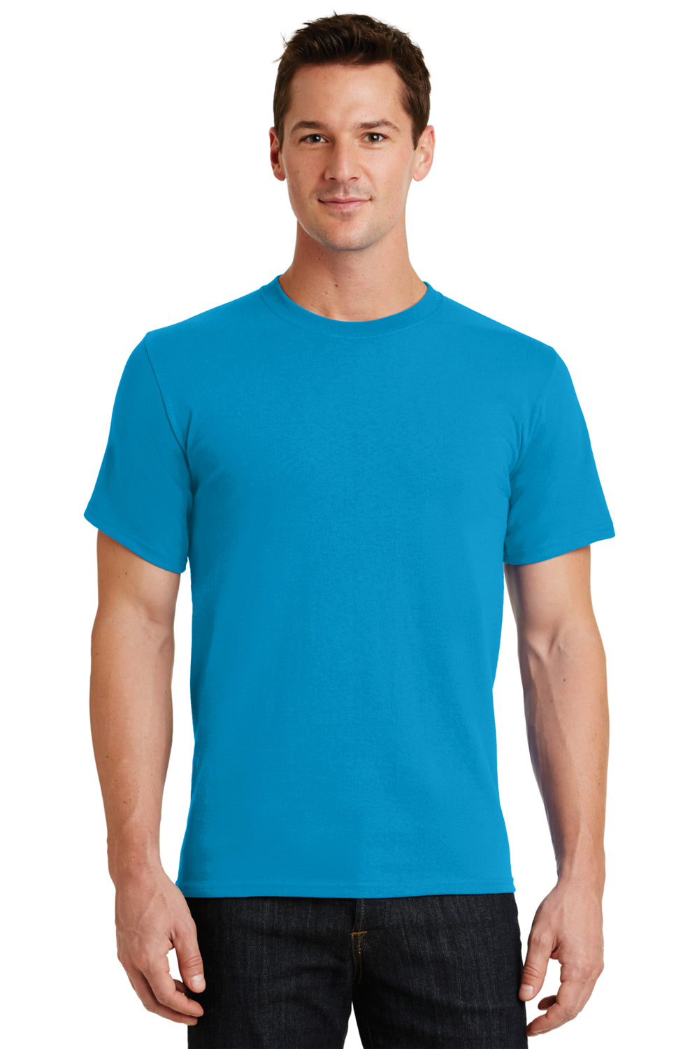 Port & Company PC61 Mens Essential Short Sleeve Crewneck T-Shirt Turquoise Blue Front