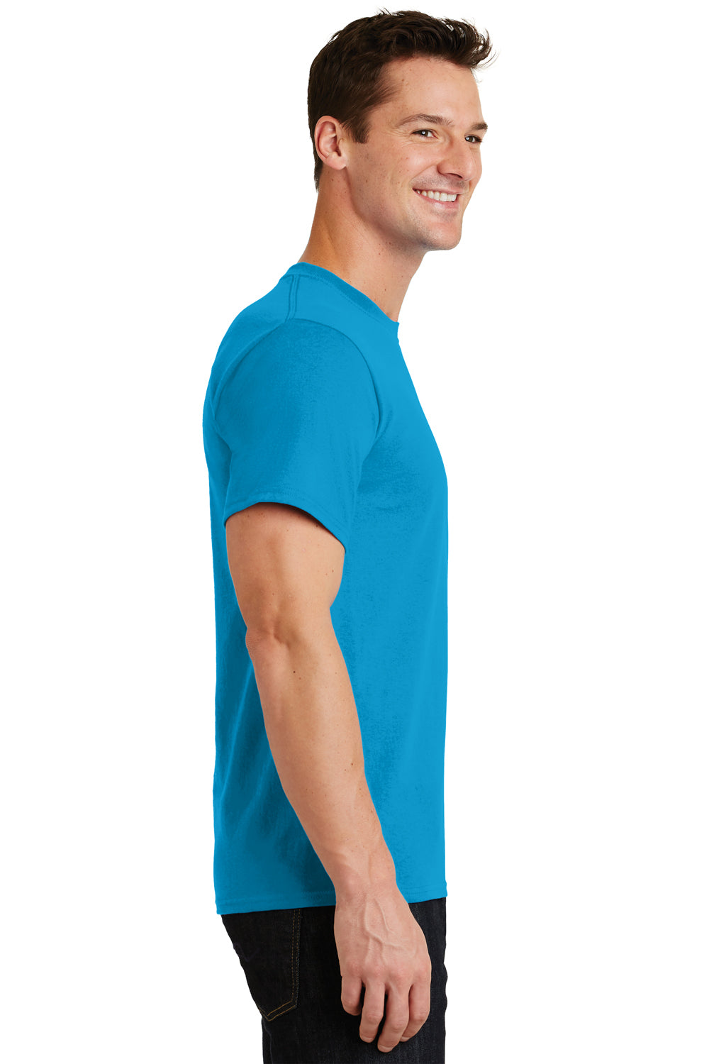 Port & Company PC61 Mens Essential Short Sleeve Crewneck T-Shirt Turquoise Blue Side