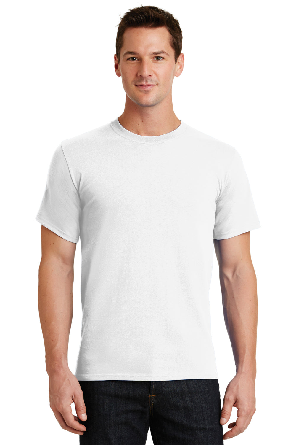 Port & Company PC61 Mens Essential Short Sleeve Crewneck T-Shirt White Front