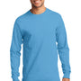 Port & Company Mens Essential Long Sleeve Crewneck T-Shirt - Aquatic Blue