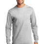 Port & Company Mens Essential Long Sleeve Crewneck T-Shirt - Ash Grey