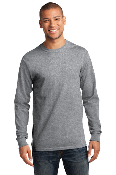Port & Company PC61LS Mens Essential Long Sleeve Crewneck T-Shirt Heather Grey Front