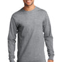 Port & Company Mens Essential Long Sleeve Crewneck T-Shirt - Heather Grey