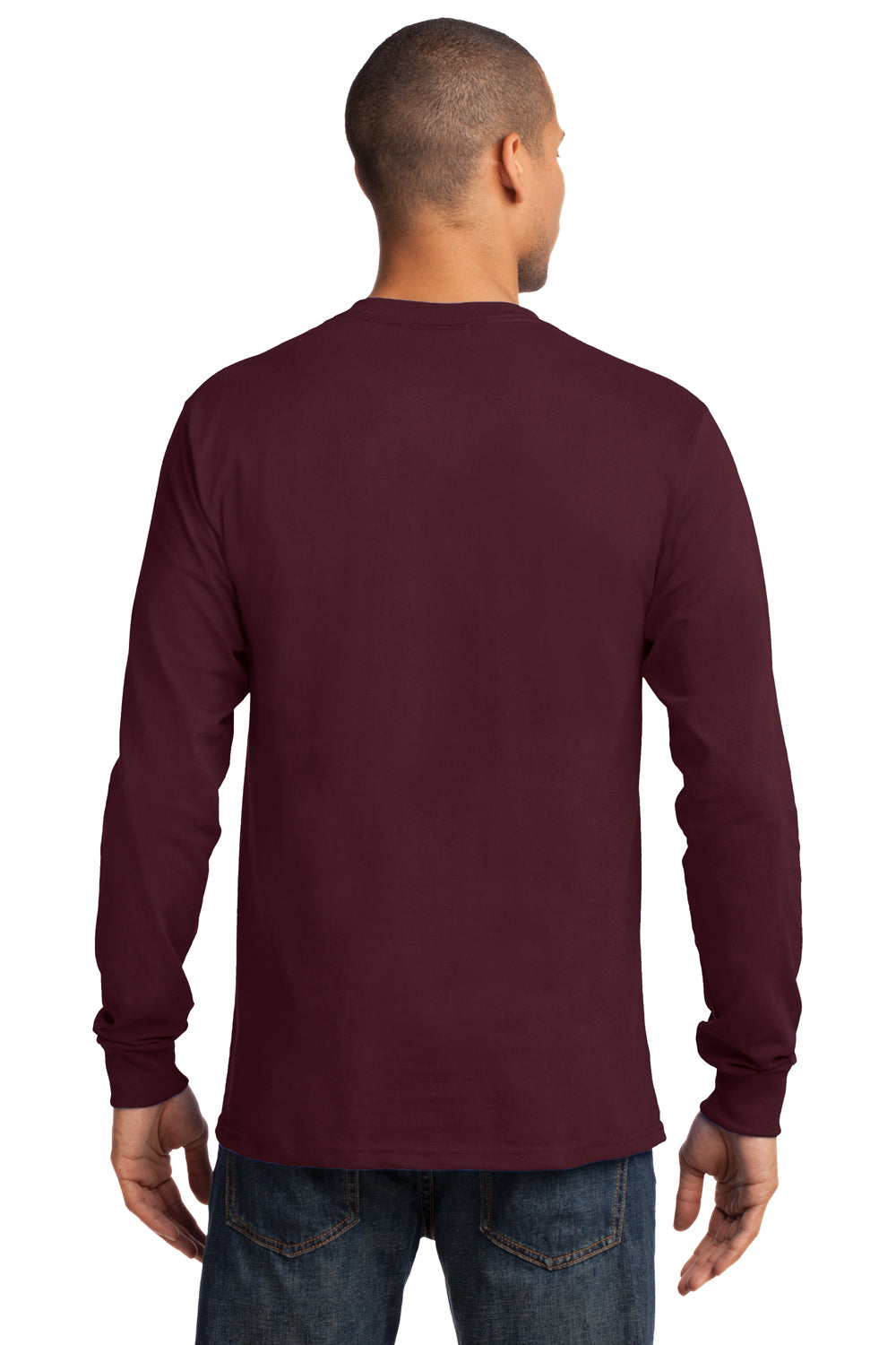 Port & Company PC61LS Mens Essential Long Sleeve Crewneck T-Shirt Maroon Back