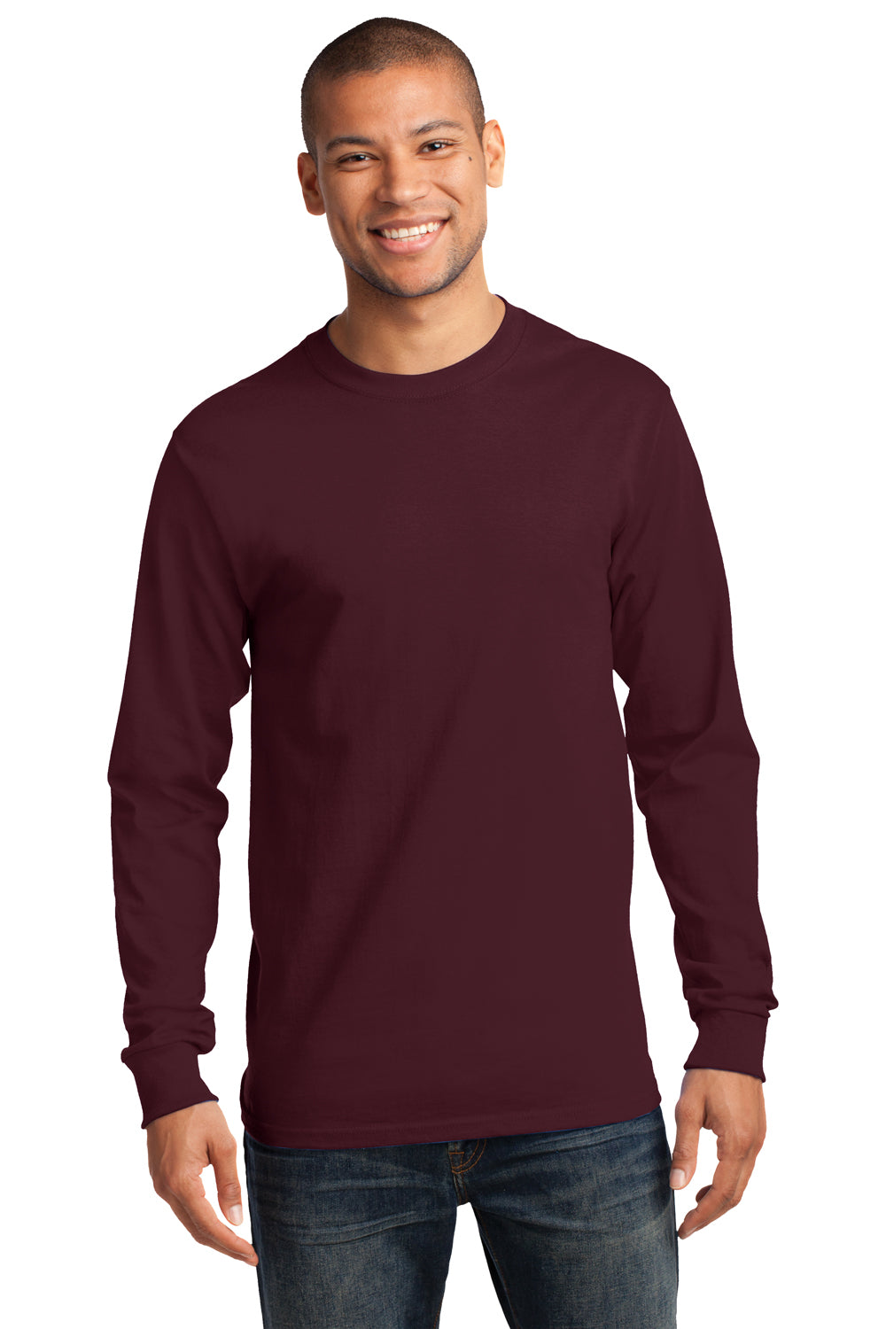 Port & Company PC61LS Mens Essential Long Sleeve Crewneck T-Shirt Maroon Front