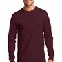 Port & Company Mens Essential Long Sleeve Crewneck T-Shirt - Athletic Maroon