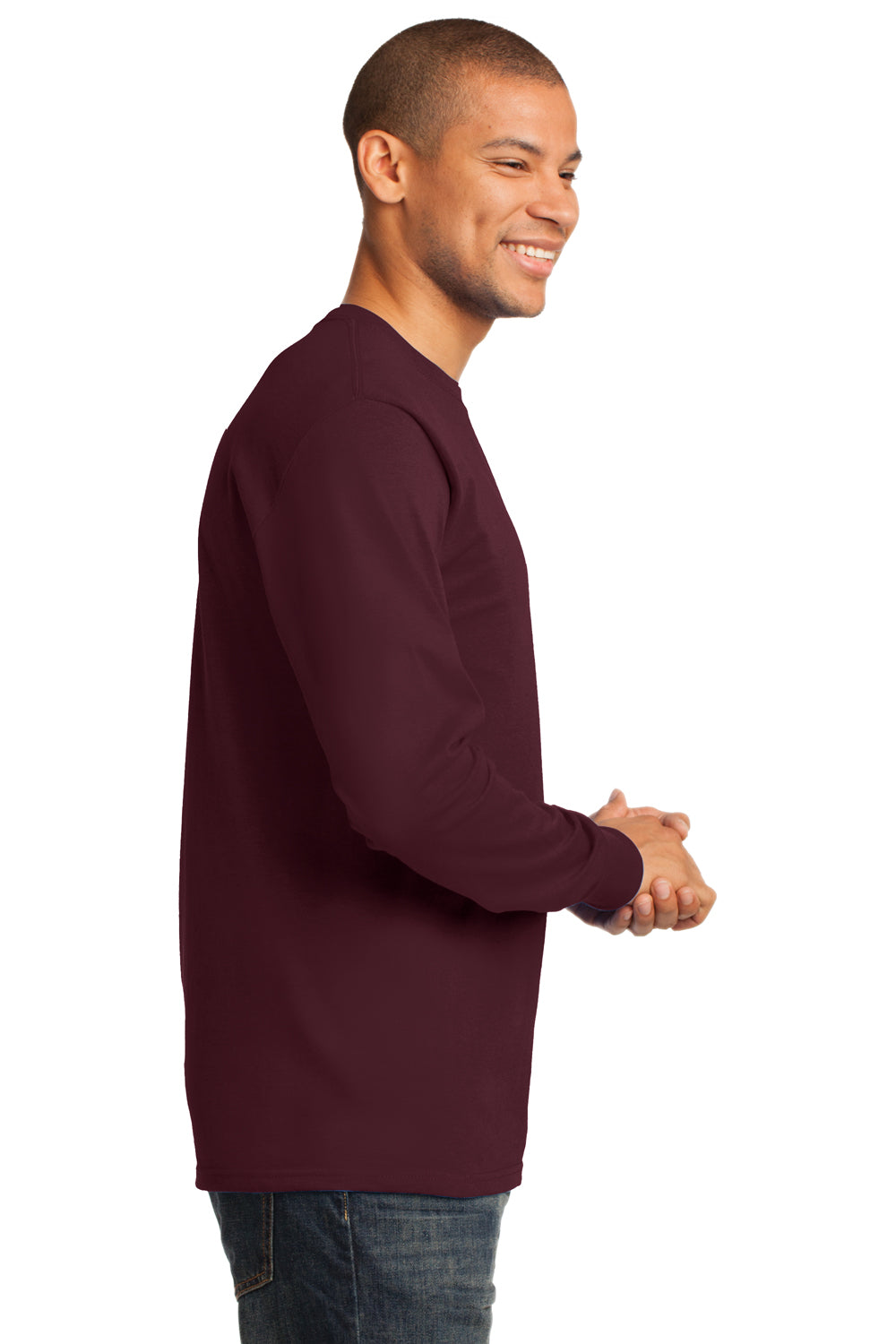 Port & Company PC61LS Mens Essential Long Sleeve Crewneck T-Shirt Maroon Side