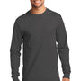 Port & Company Mens Essential Long Sleeve Crewneck T-Shirt - Charcoal Grey
