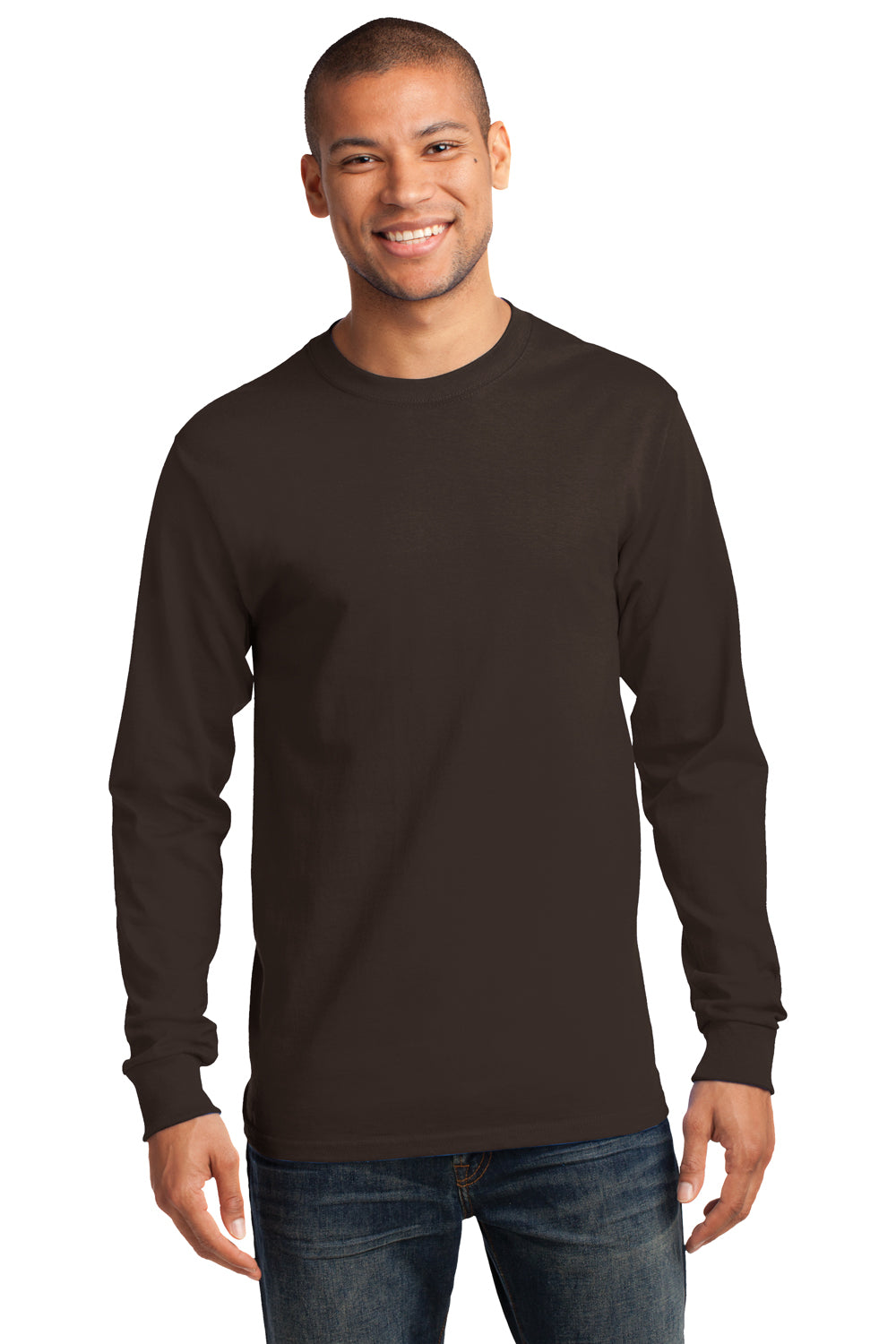 Port & Company PC61LS Mens Essential Long Sleeve Crewneck T-Shirt Chocolate Brown Front