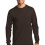 Port & Company Mens Essential Long Sleeve Crewneck T-Shirt - Dark Chocolate Brown