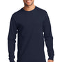 Port & Company Mens Essential Long Sleeve Crewneck T-Shirt - Deep Navy Blue