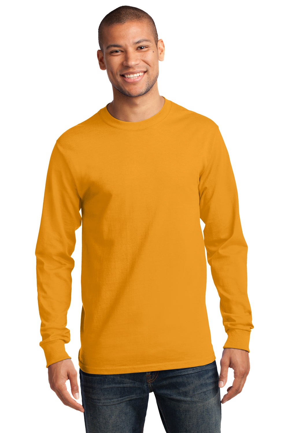 Port & Company PC61LS Mens Essential Long Sleeve Crewneck T-Shirt Gold Front