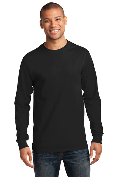 Port & Company PC61LS Mens Essential Long Sleeve Crewneck T-Shirt Black Front
