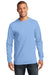 Port & Company PC61LS Mens Essential Long Sleeve Crewneck T-Shirt Light Blue Front