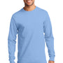 Port & Company Mens Essential Long Sleeve Crewneck T-Shirt - Light Blue