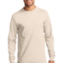Port & Company Mens Essential Long Sleeve Crewneck T-Shirt - Natural