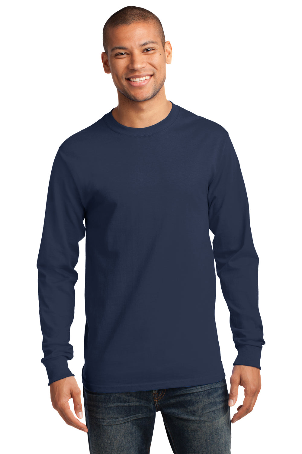Port & Company PC61LS Mens Essential Long Sleeve Crewneck T-Shirt Navy Blue Front