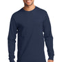 Port & Company Mens Essential Long Sleeve Crewneck T-Shirt - Navy Blue
