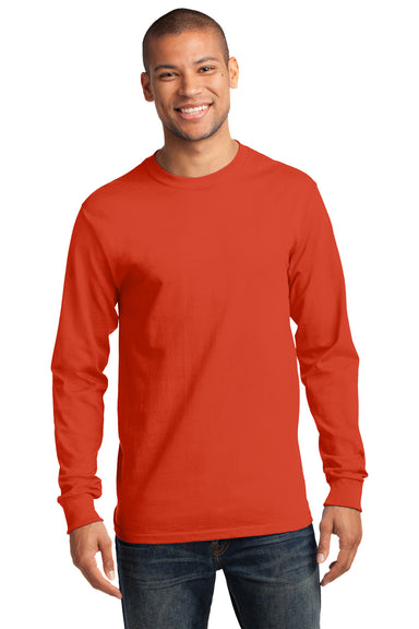 Port & Company PC61LS Mens Essential Long Sleeve Crewneck T-Shirt Orange Front