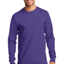 Port & Company Mens Essential Long Sleeve Crewneck T-Shirt - Purple