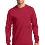 Port & Company Mens Essential Long Sleeve Crewneck T-Shirt - Red