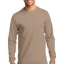 Port & Company Mens Essential Long Sleeve Crewneck T-Shirt - Sand