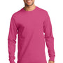 Port & Company Mens Essential Long Sleeve Crewneck T-Shirt - Sangria Pink