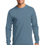 Port & Company Mens Essential Long Sleeve Crewneck T-Shirt - Stonewashed Blue