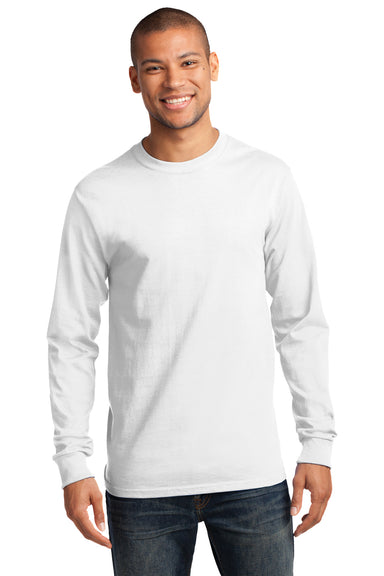 Port & Company PC61LS Mens Essential Long Sleeve Crewneck T-Shirt White Front