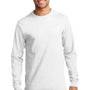 Port & Company Mens Essential Long Sleeve Crewneck T-Shirt - White