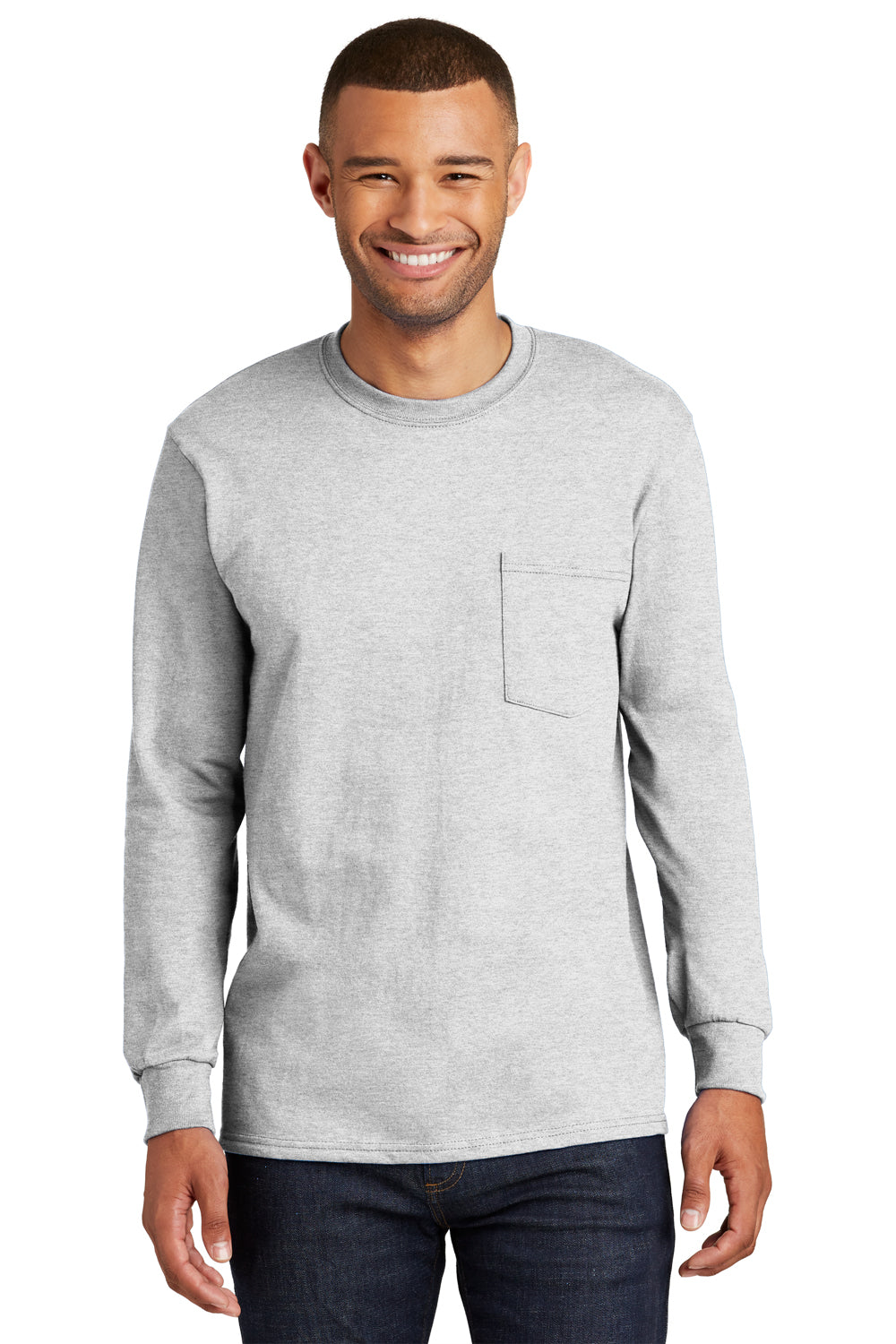 Port & Company PC61LSP Mens Essential Long Sleeve Crewneck T-Shirt w/ Pocket Ash Grey Front