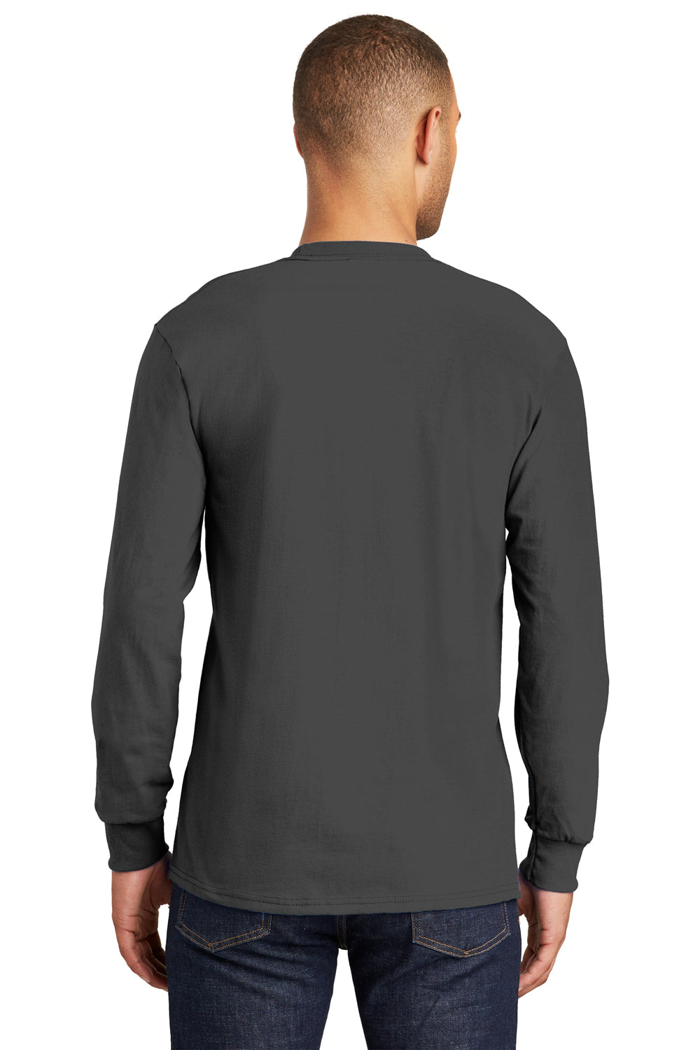 Port & Company PC61LSP Mens Essential Long Sleeve Crewneck T-Shirt w/ Pocket Charcoal Grey Back