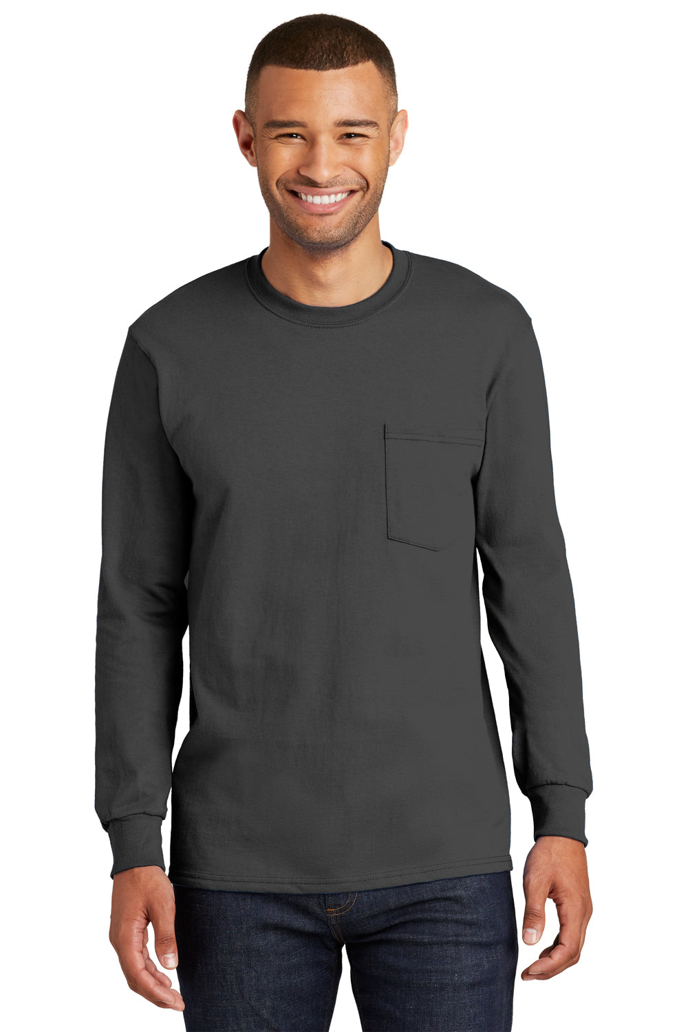 Port & Company PC61LSP Mens Essential Long Sleeve Crewneck T-Shirt w/ Pocket Charcoal Grey Front