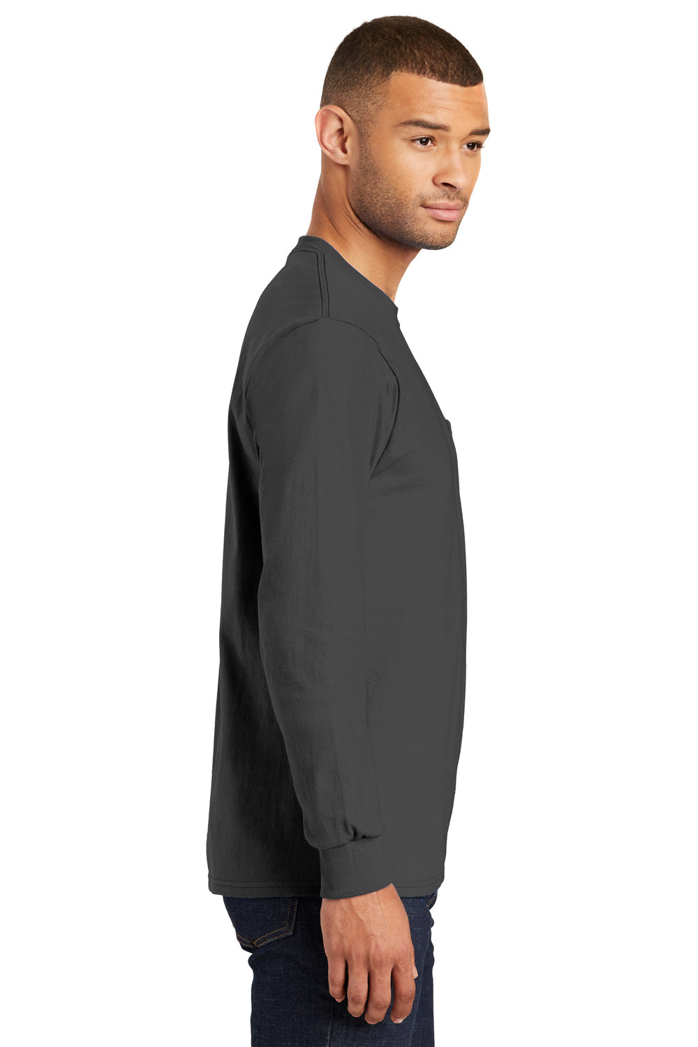 Port & Company PC61LSP Mens Essential Long Sleeve Crewneck T-Shirt w/ Pocket Charcoal Grey Side