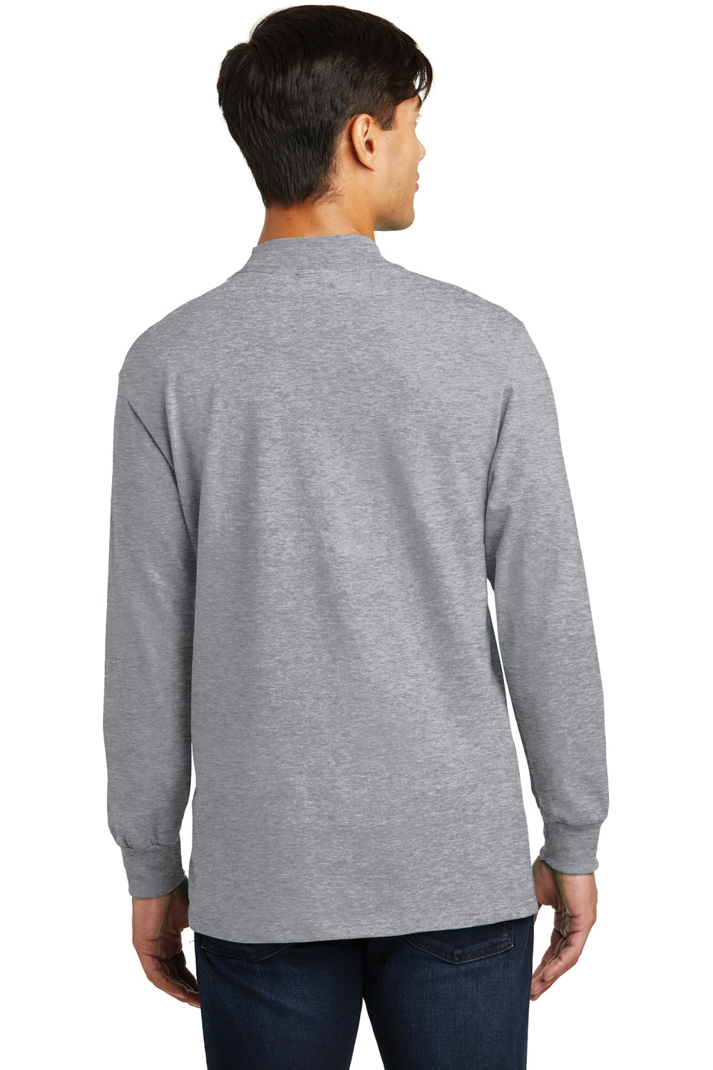 Port & Company PC61M Mens Essential Long Sleeve Mock Neck T-Shirt Heather Grey Back