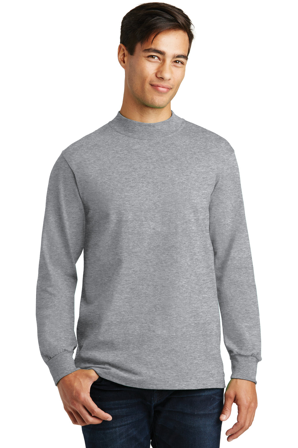 Port & Company PC61M Mens Essential Long Sleeve Mock Neck T-Shirt Heather Grey Front