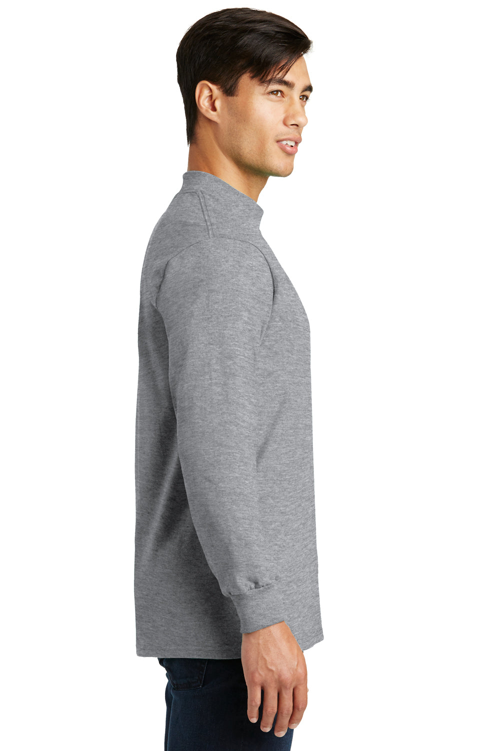 Port & Company PC61M Mens Essential Long Sleeve Mock Neck T-Shirt Heather Grey Side