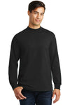 Port & Company PC61M Mens Essential Long Sleeve Mock Neck T-Shirt Black Front