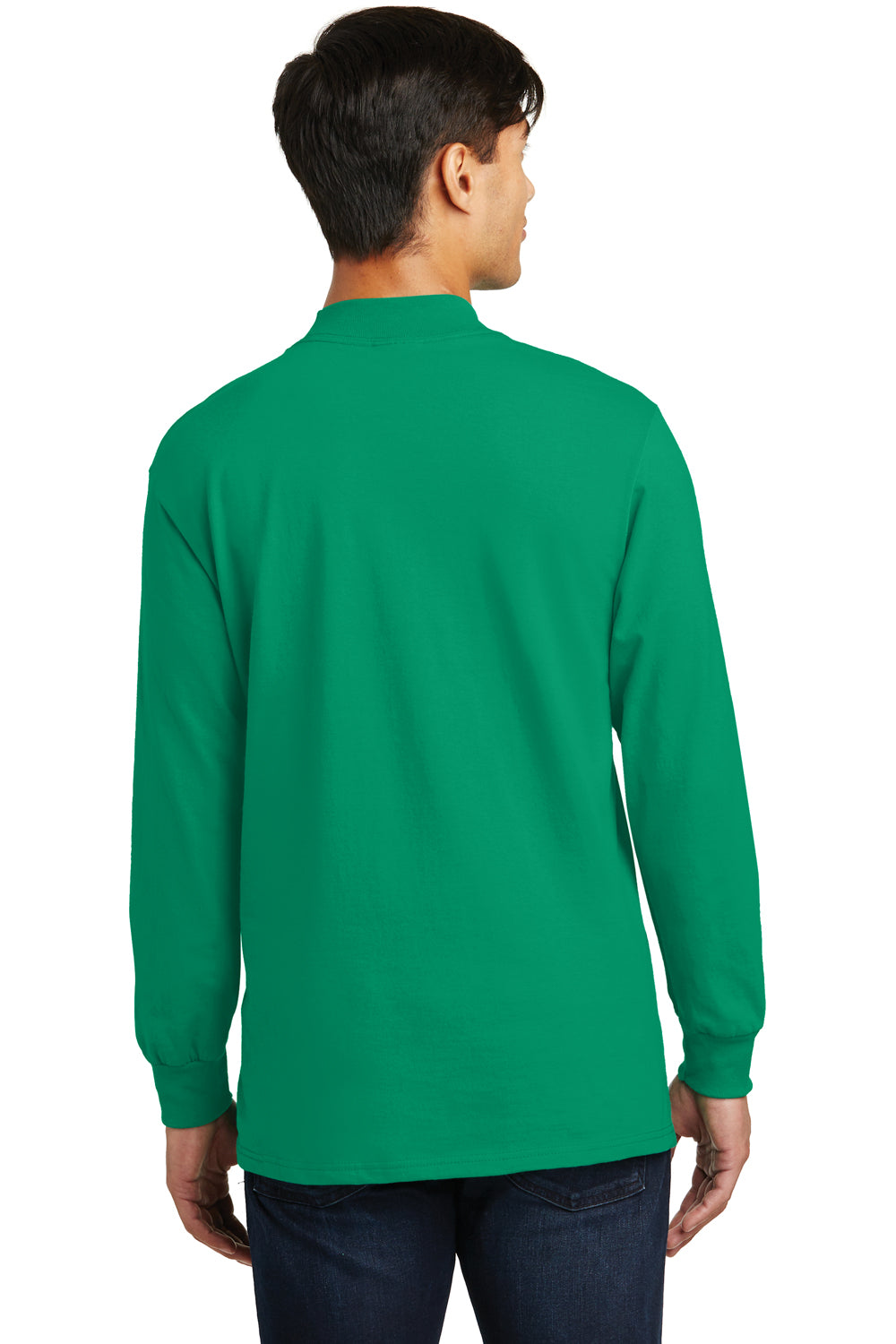 Port & Company PC61M Mens Essential Long Sleeve Mock Neck T-Shirt Kelly Green Back