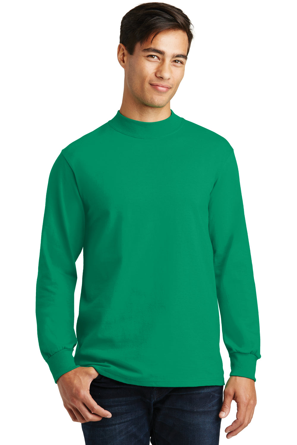 Port & Company PC61M Mens Essential Long Sleeve Mock Neck T-Shirt Kelly Green Front