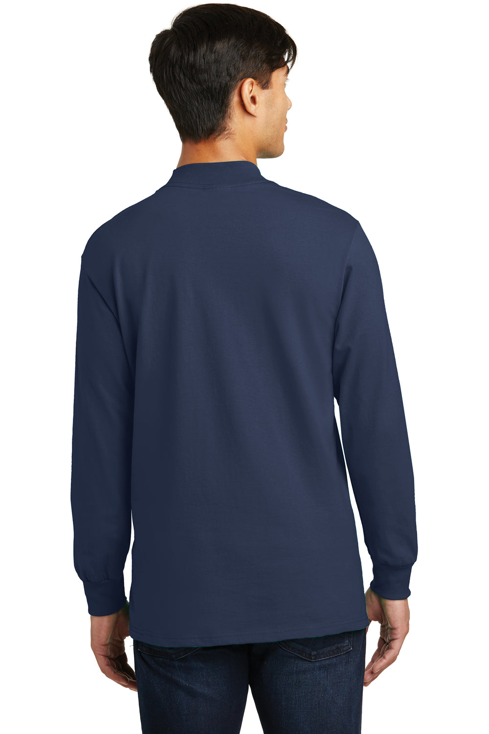 Port & Company PC61M Mens Essential Long Sleeve Mock Neck T-Shirt Navy Blue Back