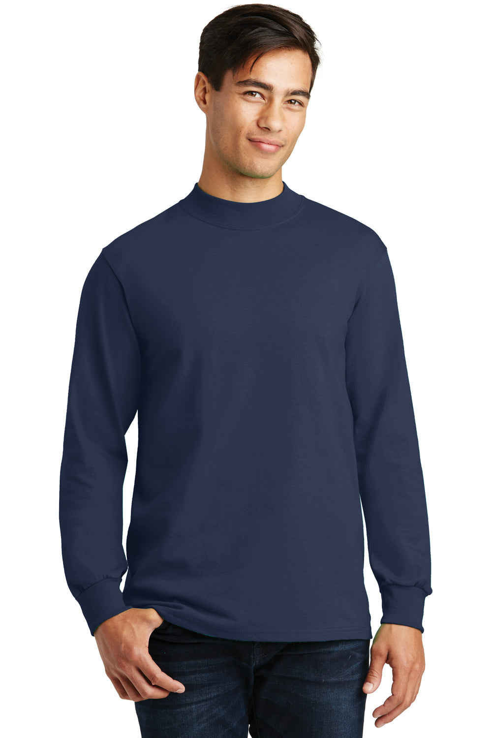 Port & Company PC61M Mens Essential Long Sleeve Mock Neck T-Shirt Navy Blue Front
