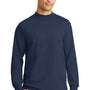 Port & Company Mens Essential Long Sleeve Mock Neck T-Shirt - Navy Blue