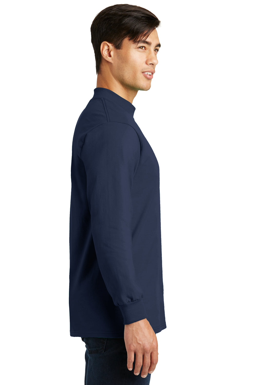 Port & Company PC61M Mens Essential Long Sleeve Mock Neck T-Shirt Navy Blue Side